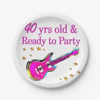 ROCK N ROLL 40TH PAPER PLATE