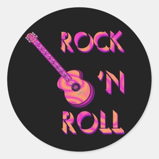 rock 39 n roll acoustic guitar sticker. Black Bedroom Furniture Sets. Home Design Ideas