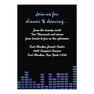 Rock n Roll Bar Bat Mitzvah party reception card