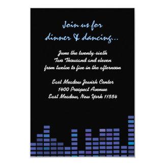 "Rock n Roll Bar Bat Mitzvah party reception card 3.5"" X 5"" Invitation Card"