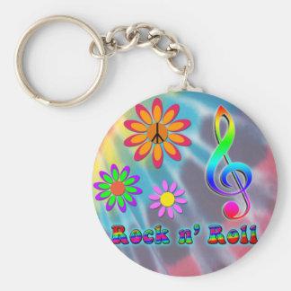 Rock n' Roll Basic Round Button Keychain