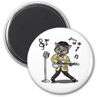 Rock 'n' Roll Cat 2 Inch Round Magnet