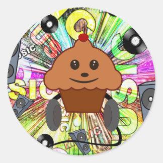 Rock N Roll Cupcake Classic Round Sticker