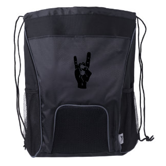 Rock n Roll Devil Horns Drawstring Backpack