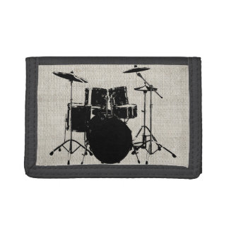 Rock n Roll Drums Trifold Wallets