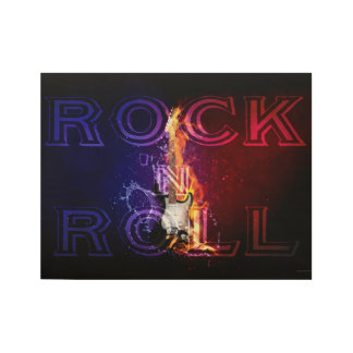 Rock n Roll Fire Flaming Electric Guitar Music Wood Poster