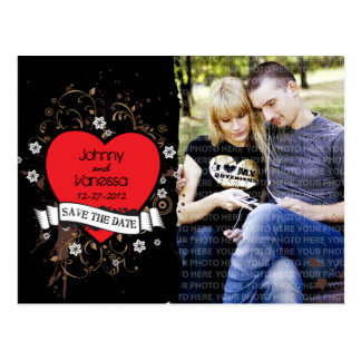 Rock n Roll Grungy Heart Brown Save the Date Photo Postcard