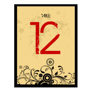 Rock n Roll Grungy Heart (Red Black) Table Number Postcard