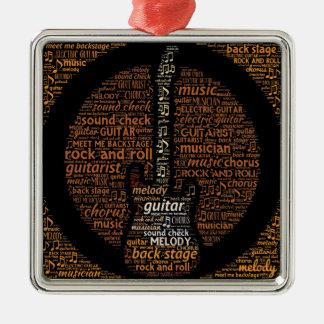 Rock n Roll Guitar Player Word Art Square Metal Christmas Ornament