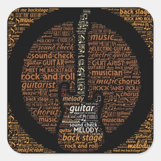 Rock n Roll Guitar Player Word Art Square Sticker