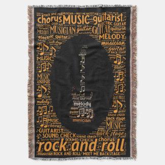 Rock n Roll Guitar Player Word Art Throw Blanket