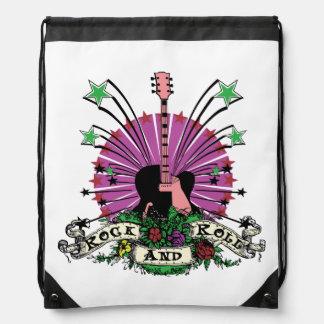 Rock n Roll Guitar Stars Flowers Drawstring Bag
