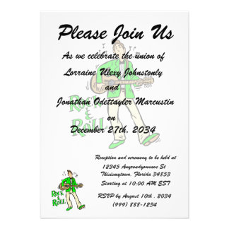 rock n roll guy playing guitar green png invitation