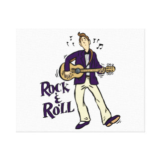 rock n roll guy playing guitar purple.png canvas print