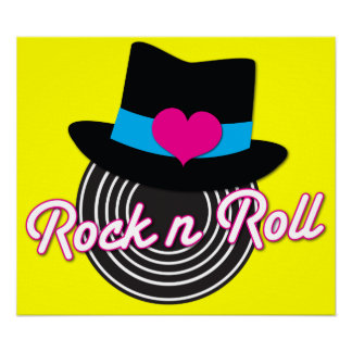 Rock n Roll hat canvas print Poster
