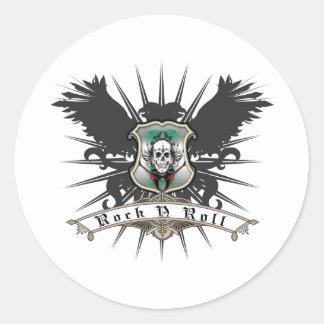 Rock n Roll Heraldry Classic Round Sticker