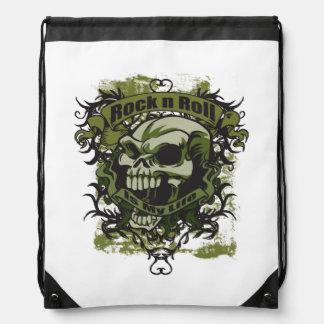 Rock n Roll Is My Life Skull Drawstring Bag