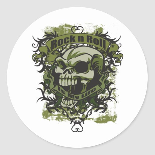 Rock n Roll is my Life Skull Round Stickers
