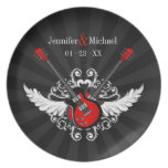 Rock 'n' Roll Love Couple Anniversary plate