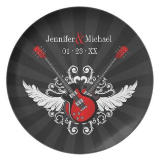 Rock 'n' Roll Love Couple Anniversary plate