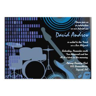 "Rock n Roll Musical Bar Bat Mitzvah Invitation 5"" X 7"" Invitation Card"