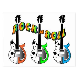 Rock N Roll Neon Electric Guitar Music Postcard