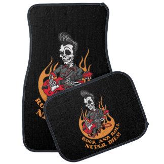 Rock n Roll Never Dies Skull Playing Guitar Car Mat