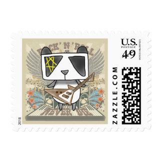 Rock 'N' Roll Panda Postage Stamp