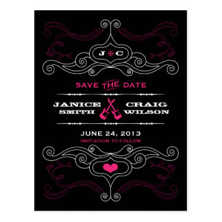 Rock 'n' Roll Poster (Black / Pink) Save the Date Postcard
