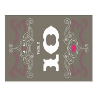 Rock 'n' Roll Poster (Pewter / Pink) Table Number Postcard