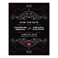 Rock 'n' Roll Poster (Pink / Black) Save the Date
