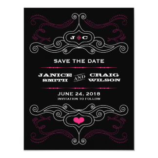 Rock 'n' Roll Poster (Pink / Black) Save the Date Card