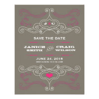 Rock 'n' Roll Poster (Pink / Pewter) Save the Date