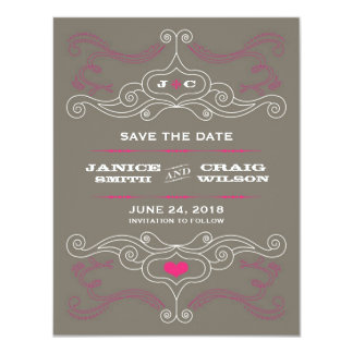 Rock 'n' Roll Poster (Pink / Pewter) Save the Date 4.25x5.5 Paper Invitation Card