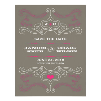 Rock n Roll Poster Pink Pewter Save the Date Custom Announcement