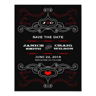Rock 'n' Roll Poster (Red / Black) Save the Date Card