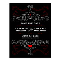 Rock 'n' Roll Poster (Red / Black) Save the Date Post Cards