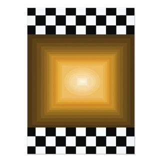 Rock n Roll Retro Gold Hipster B/W Checkerboard Card