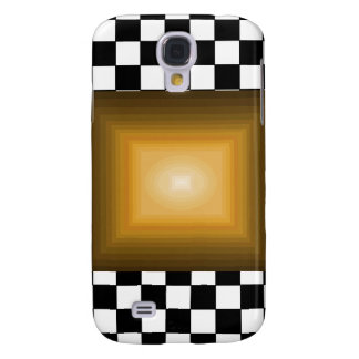 Rock n Roll Retro Gold Hipster B/W Checkerboard Galaxy S4 Covers
