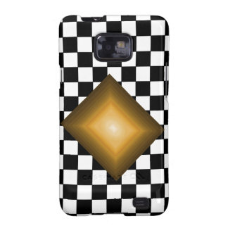 Rock n Roll Retro Gold Hipster B/W Checkerboard Galaxy S2 Cover