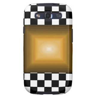 Rock n Roll Retro Gold Hipster B/W Checkerboard Galaxy SIII Cover