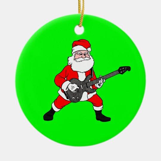 Rock N Roll Christmas Tree: Rock N Roll Santa Claus Ceramic Ornament