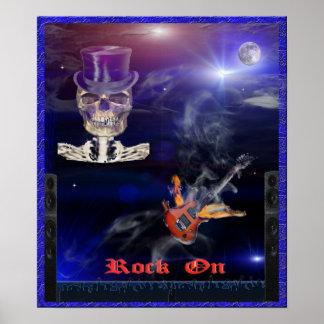 rock n roll skull poster