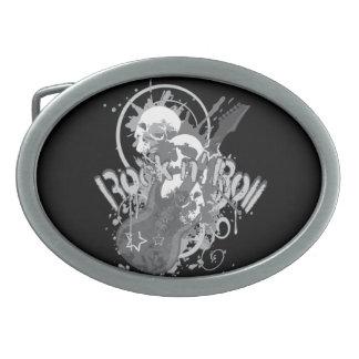 Rock n' Roll Skulls Oval Belt Buckle
