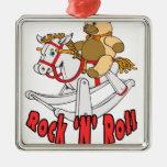 Rock 'n' Roll Square Metal Christmas Ornament