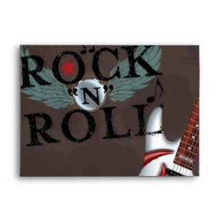 Rock N Roll Star Grunge Birthday Party Invitation Envelope