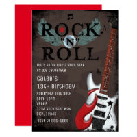 Rock N Roll Star Grunge Birthday Party Invitations