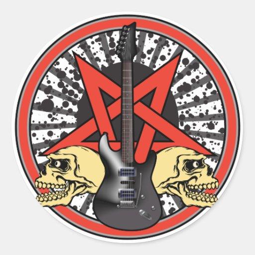 Rock n Roll Star Round Stickers