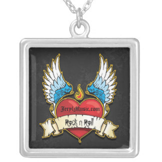 Rock N Roll Tag Square Pendant Necklace