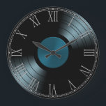 """Rock n Roll Vinyl Record Album in Blue Large Clock<br><div class=""""desc"""">This is an awesome gift for anyone who loves retro vinyl.</div>"""